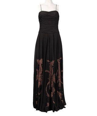 Black Ruched Flourish Gown