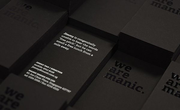 We are manic black business cards pinterest business cards we are manic business cards are printed onto sirio 80 black 480gsm heavy stock and matte black texture on the front we foil stamped the logo type black colourmoves