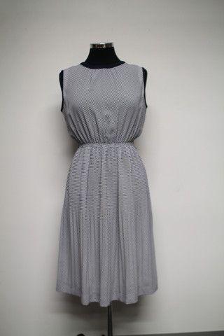 Navy vintage dress in polka dot print