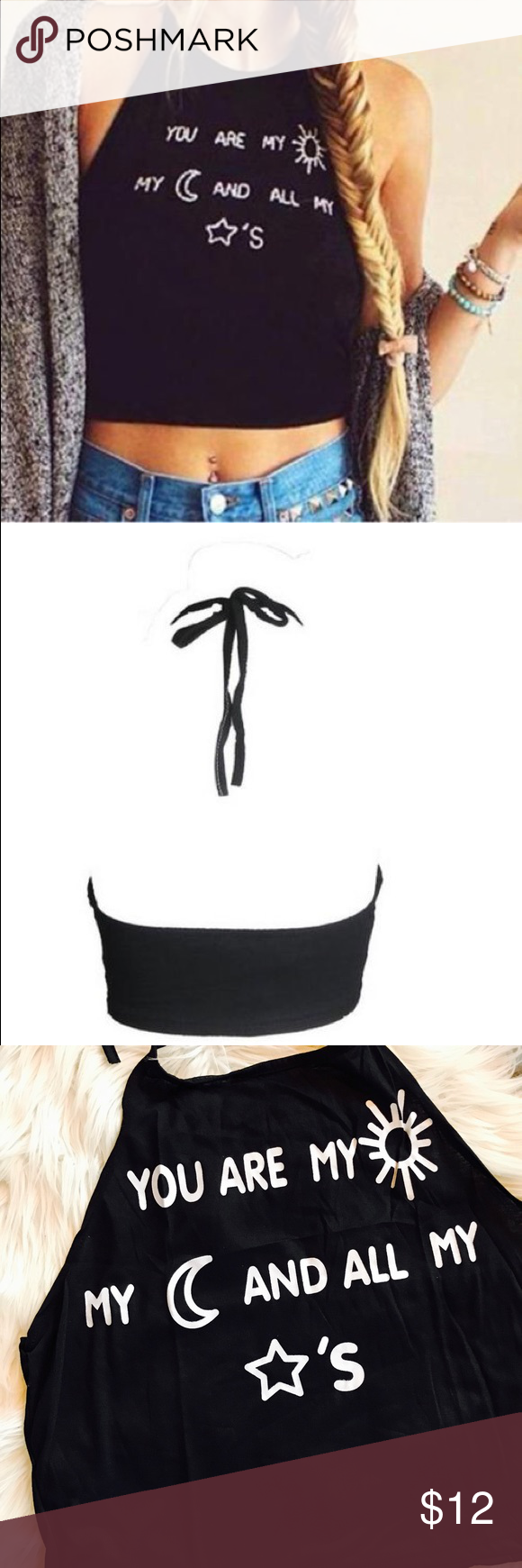 """NWOT Backless Crop Black Halter Top Sun Moon Stars Funky and fun lightweight black top.  Actual garment pictured in last 2 photos.  Tie string neck.  Cotton blend.  No size label so check measurements before buying.  Pit to pit laying flat 18.75"""". Length of side 9"""".   Length from top edge of front (not total length because tie is adjustable) 17"""". Tops Camisoles"""