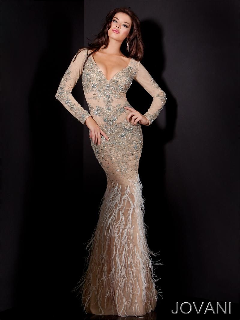 completely STUNNING DRESS! Jovani Feathered dress 9441 - Jovani ...