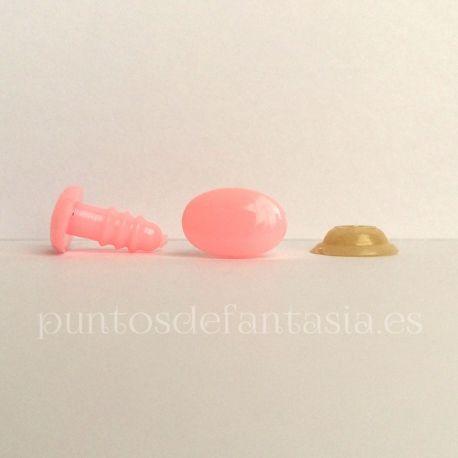 Ojos o narices de seguridad de plástico de color rosa con forma ovalada. Ideales para amigurumis, peluches, muñecas...  Disponibles en varios tamaño