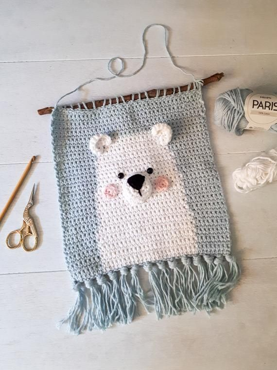 Polar bear nursery wall decor crochet pattern, diy baby room wall hanging, digital download #wallphone