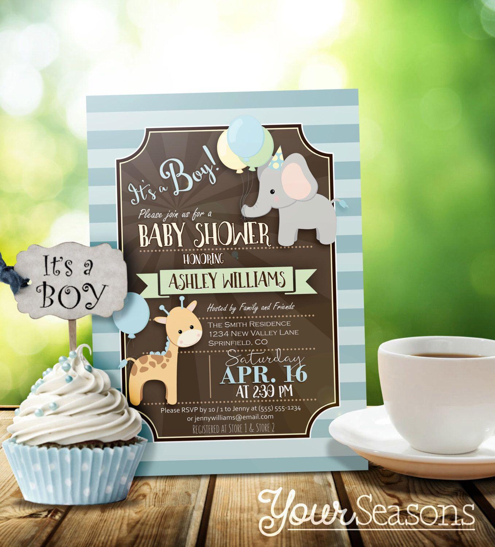 Zoo Animal Baby Shower Invitation, Boy - Personalized Printable ...