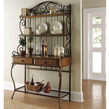 Wood Bakers Rack Jcpenney With Images Bakers Rack Kitchen Bakers Rack Decorating Home Decor