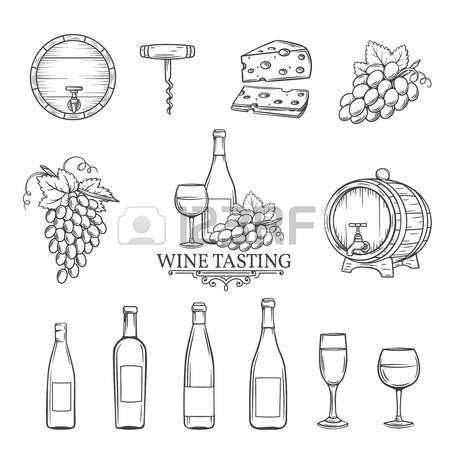 wine de trekt wijn pictogrammen instellen op wit