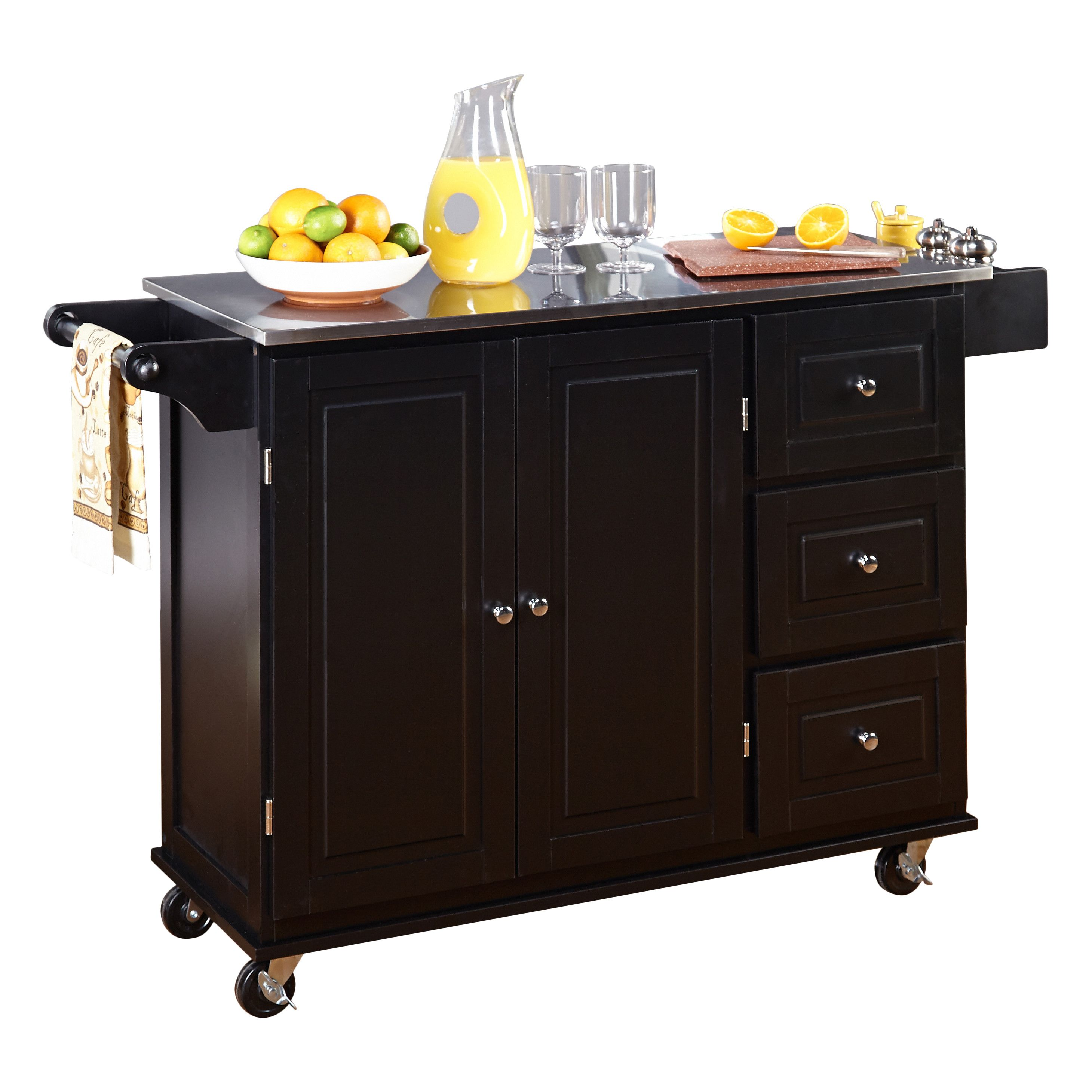 TMS Wallace Kitchen Island with Stainless Steel Top