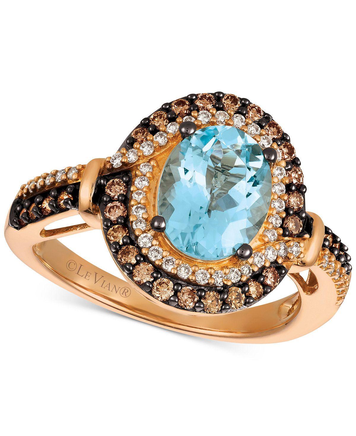 Le Vian Chocolatier® Aquamarine (1-3/8 ct. t.w.) and Diamond (1/2 ...