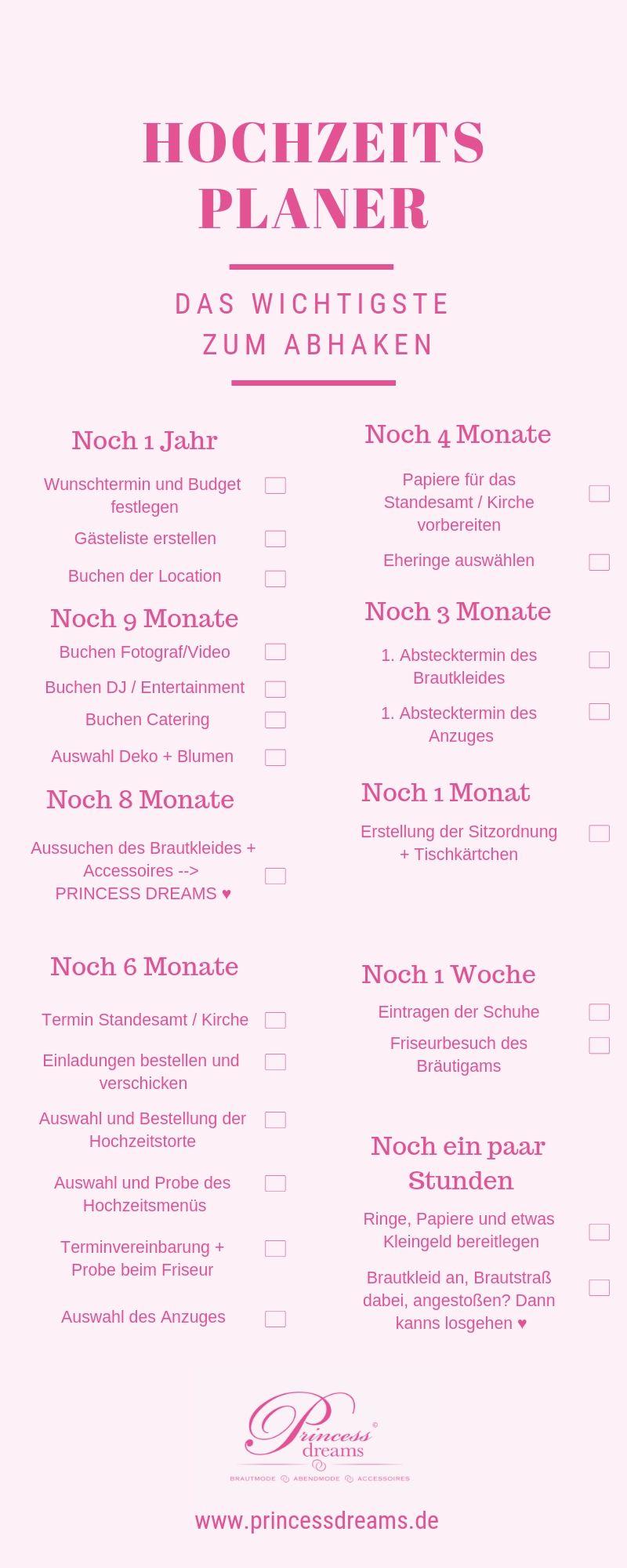 Hochzeitsplaner für deine Hochzeit! Zum abhaken und planen für deine Traumhochzeit! Brautmode Berlin