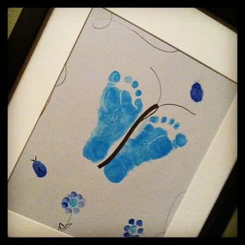 Butterfly Footprints And Fingerprint Flowers Great Gift Idea For Grandparents Baby