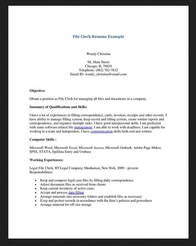 Medical File Clerk Resume Resumesdesign Resume Resume Template Examples Resume Template