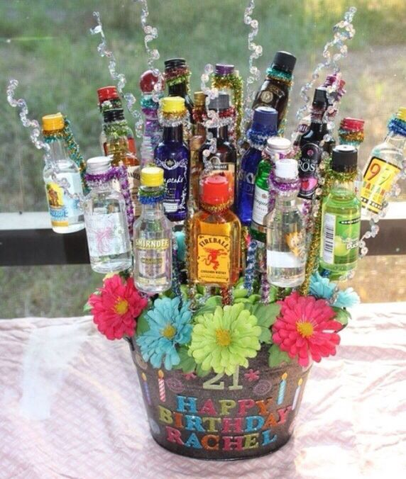 21st Birthday Idea Using Pipe Cleaners To Set Mini Bottles In A Gift Tub