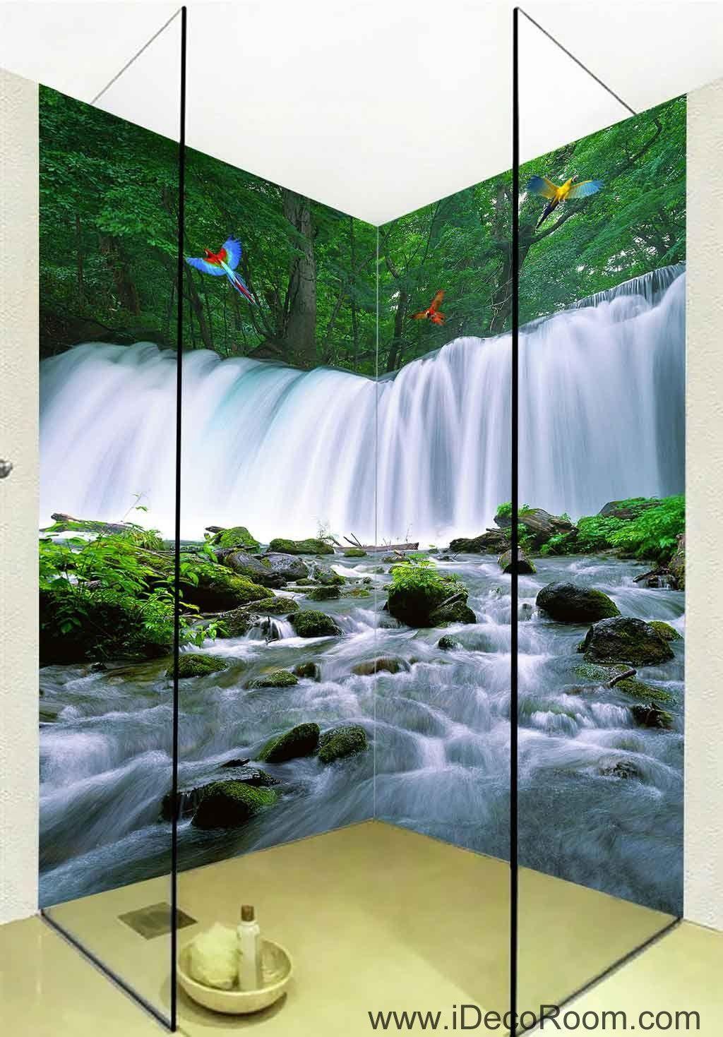 3D Wallpaper Forest Fall Blue Brook Birds Wall Murals Bathroom ...