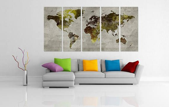 Check Out Bronze World Wall Art Canvas Map Large