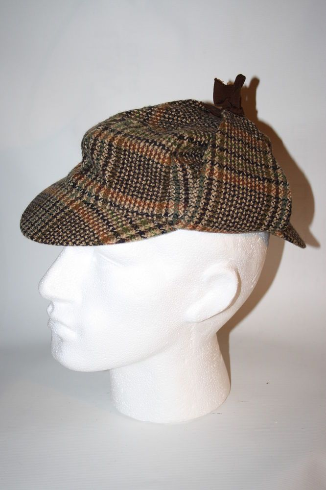 Vintage Fails Worth Sherlock Holmes Style Hat Cap Cotton Brown Checked UK  Made efd27660b05