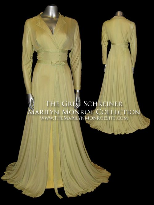"""A light green dressing gown designed by Oscar winning designer William """"Billy"""" Travilla for """"There's No Business Like Show Business."""" The scenes shot of Marilyn wearing this gown were ultimately cut from the final film."""