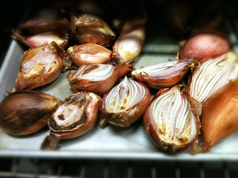 Roasted shallots before being used in making pho broth. SHALLOTS - ONE OF MANY OF PHO'S CRITICAL INGREDIENTS - PART 2