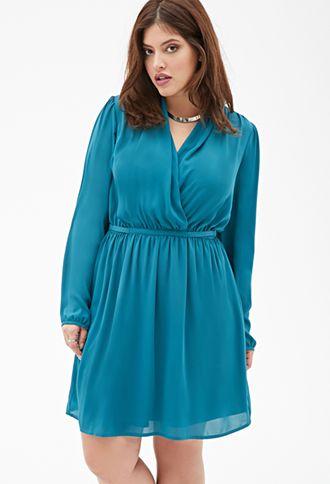 Chiffon Surplice Dress Forever21 Plus 2000117997 Plus Sized