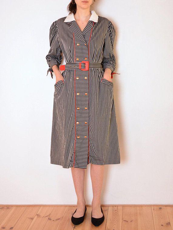 70's Swiss striped dress with collar, retro