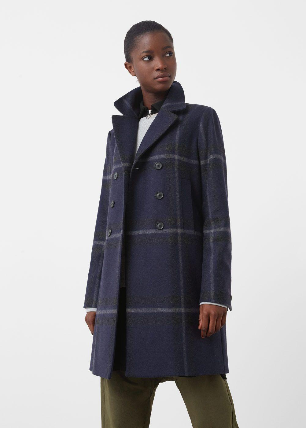 Abrigo lana cuadros - Abrigos de Mujer  4067c7ebf617