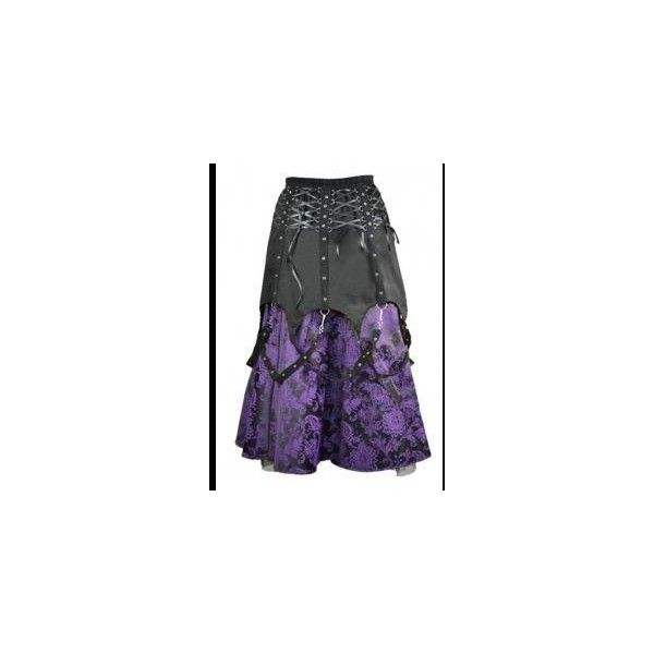 Long Purple Damask Black Gothic Steampunk Buckle Skirt (370 PLN) ❤ liked on Polyvore featuring skirts, goth skirt, damask skirt, purple skirt, damask maxi skirt and long purple maxi skirt