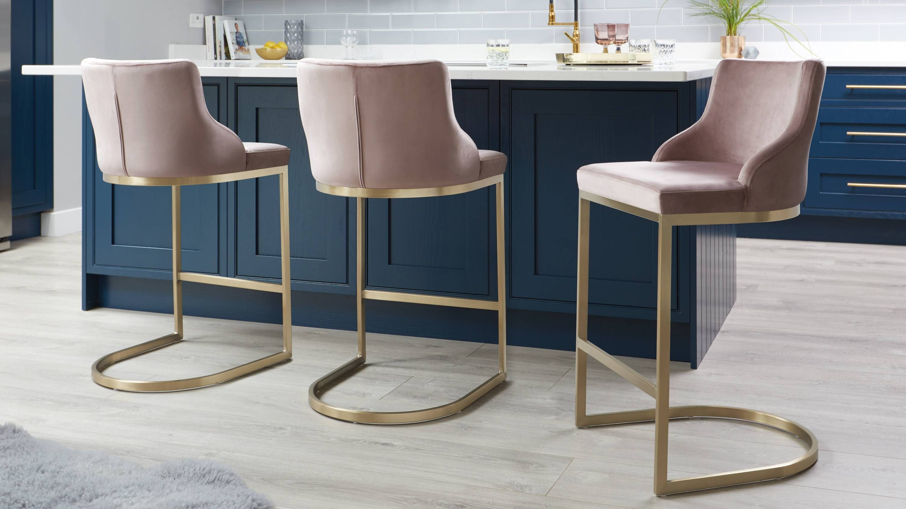 Astounding Form Blush Pink Velvet And Brass Bar Stool With Backrest In Machost Co Dining Chair Design Ideas Machostcouk