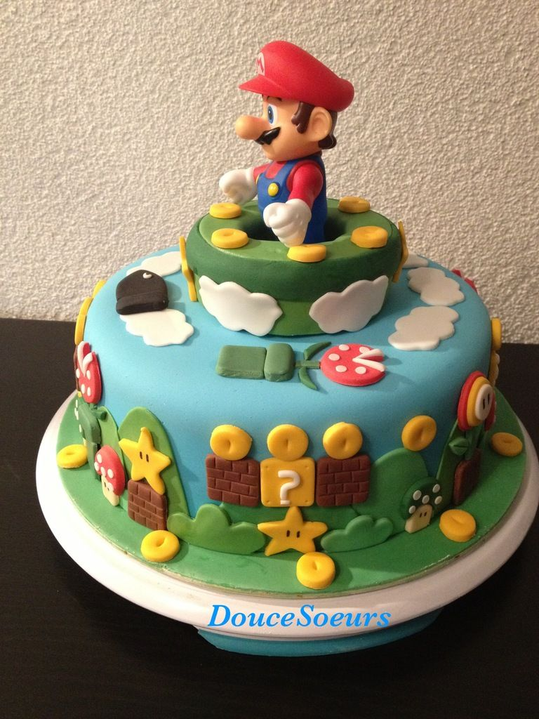 g teau mario bros gateaux mario pinterest g teau anniversaires et gateau mario. Black Bedroom Furniture Sets. Home Design Ideas
