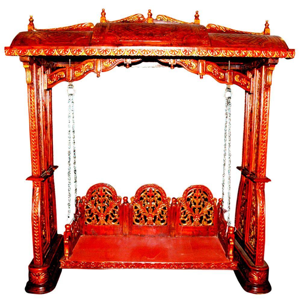 Vintage royal indoor wooden swing antique indian king for Garden jhoola designs