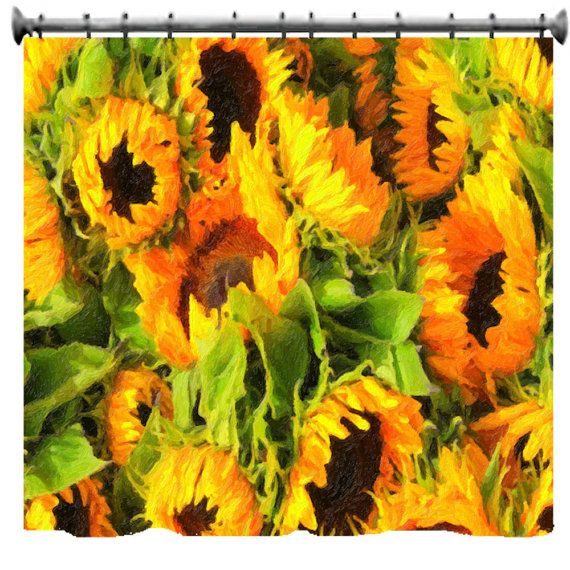 Painted Sunflowers Shower Curtain 69 x 70 by susanakame1 on Etsy, $89.00