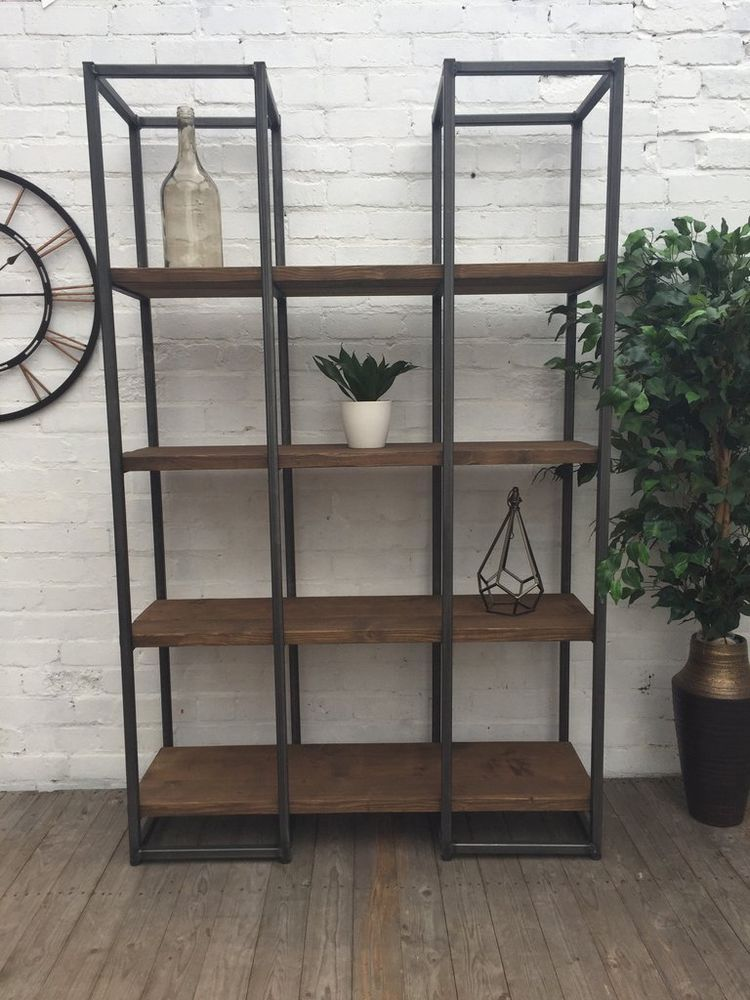 Shelving Unit Room Divider Chic Reclaimed Steel Wood