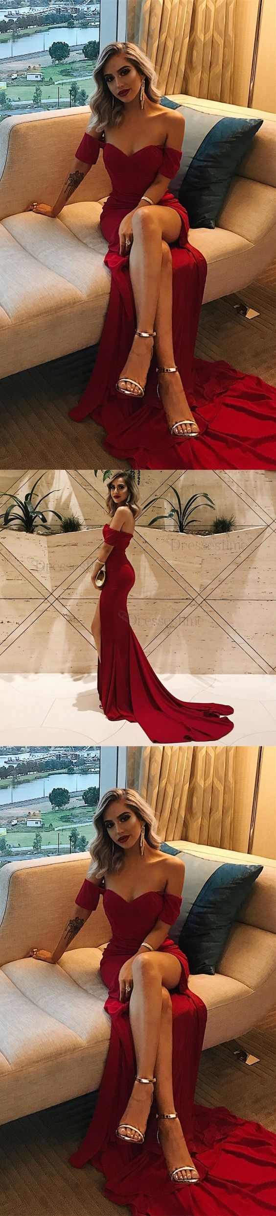 Simple off the shoulder burgundy prom dresses long sexy high leg