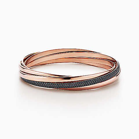 dc3cecdd1 Paloma's Melody five-band bangle in 18k rose gold with black spinels,  medium.