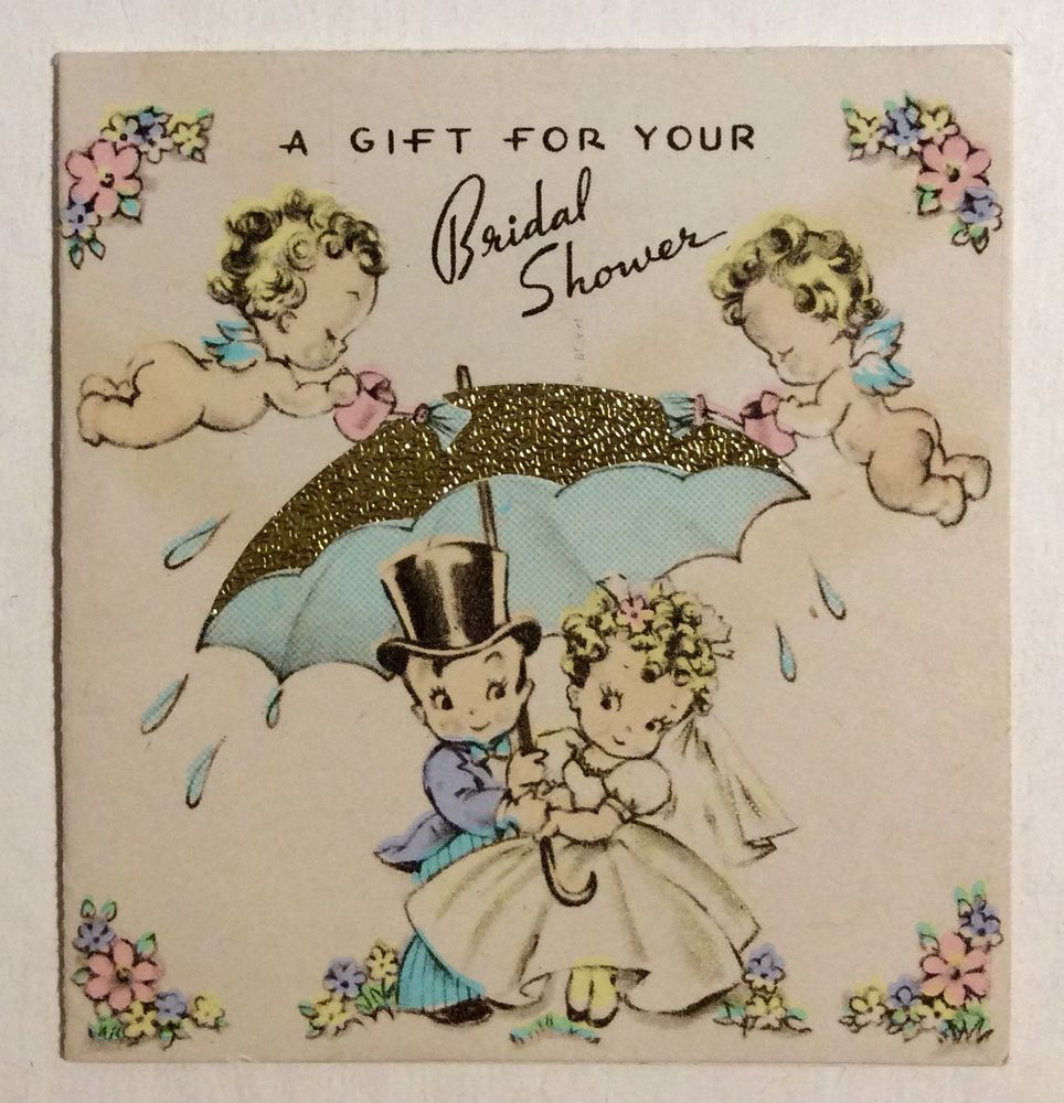 Darling Bride Groom Cherubs Gold Foil Umbrella 30s Vintage Wedding Greeting Card