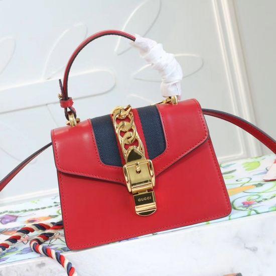 4aa878f0410 Gucci GG Sylvie leather mini bag Tote Handbag 470270 Red