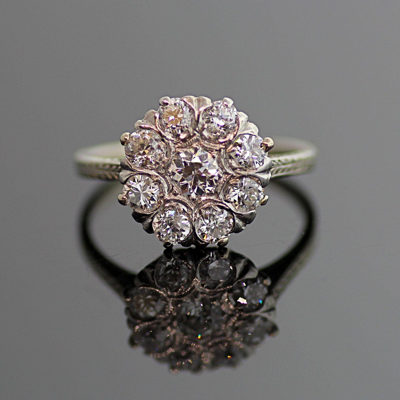 Antique diamond floral cluster ring via etsy fine