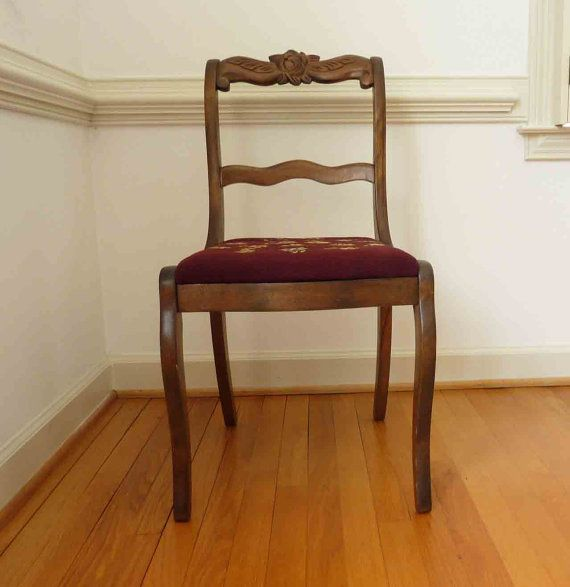 Antique Wood Chair Embroidered Seating Home Decor by RefinedDecor