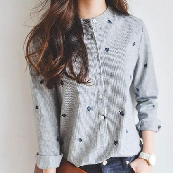 Leaf - Embroidered Button-Up Blouse