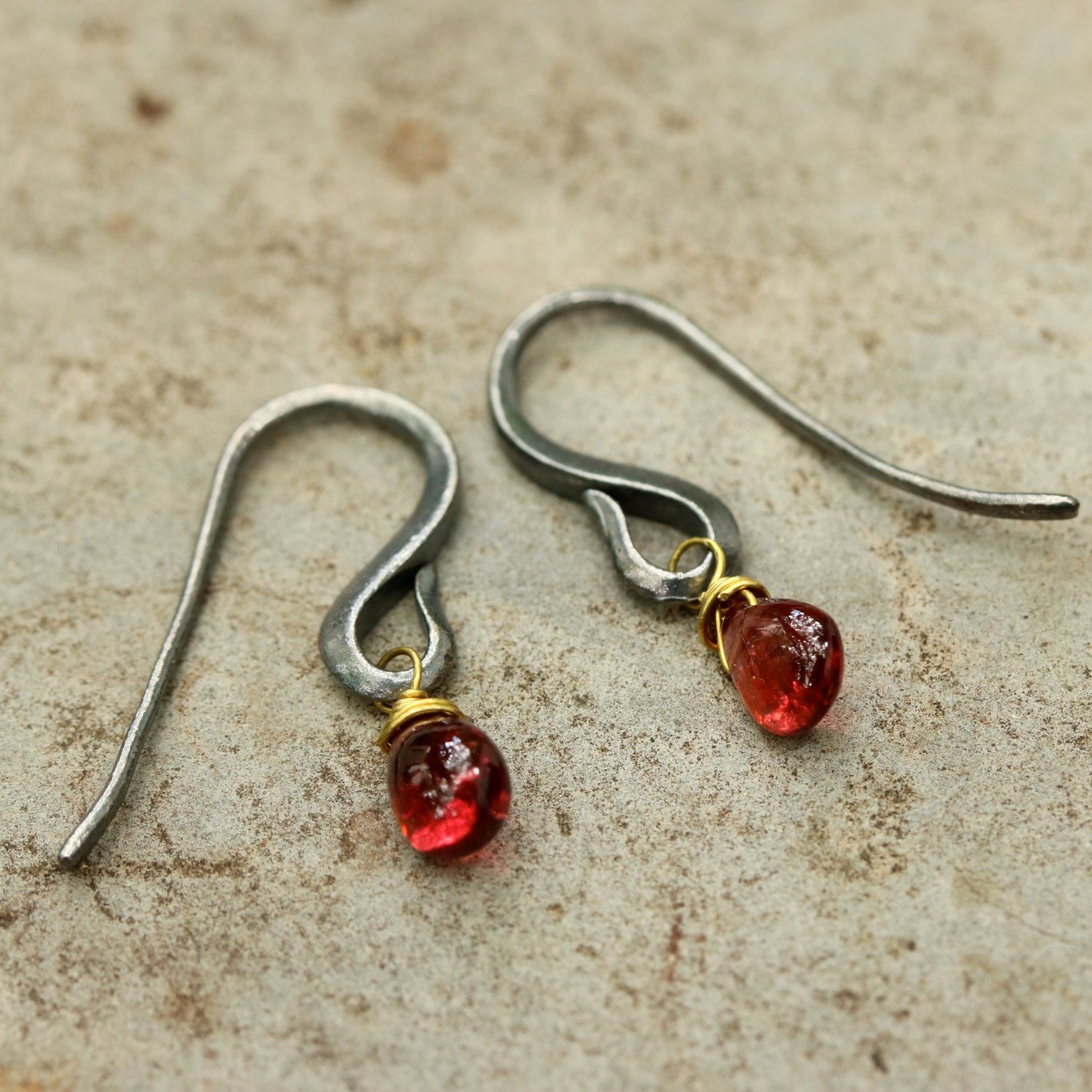 Tiny garnet drops cabochon earrings with oxidized sterling silver hooks