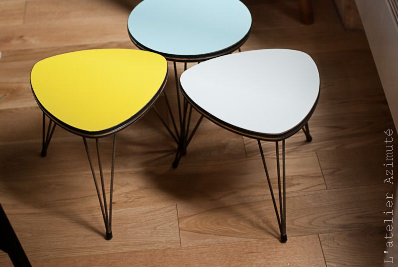 Trois mini-tables tripodes rajeunies   Tables