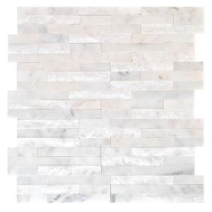 Bathroom backsplash- home depot jeffrey court churchill white split ...