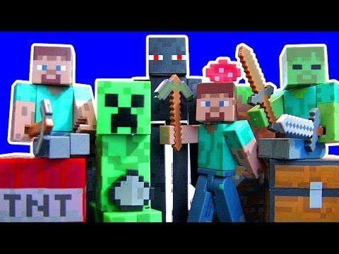 Minecraft Steve Creeper Enderman Zombie Jazwares Toys Series 1 Dear Santa Toy Review - YouTube