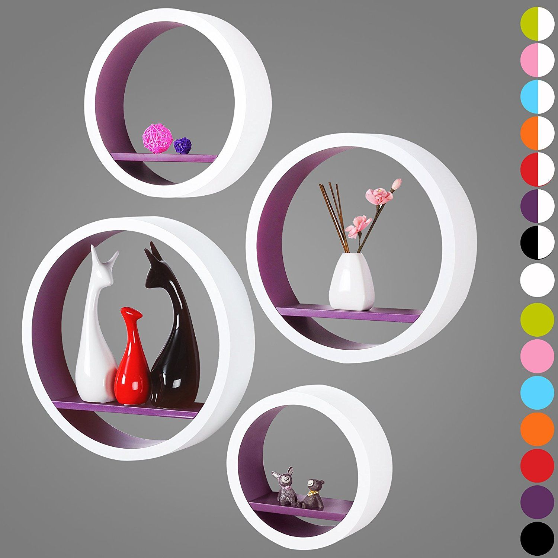 wandregal schweberegale 4er set oval lounge cube regal retro b cherregal mdf holz diy zum. Black Bedroom Furniture Sets. Home Design Ideas