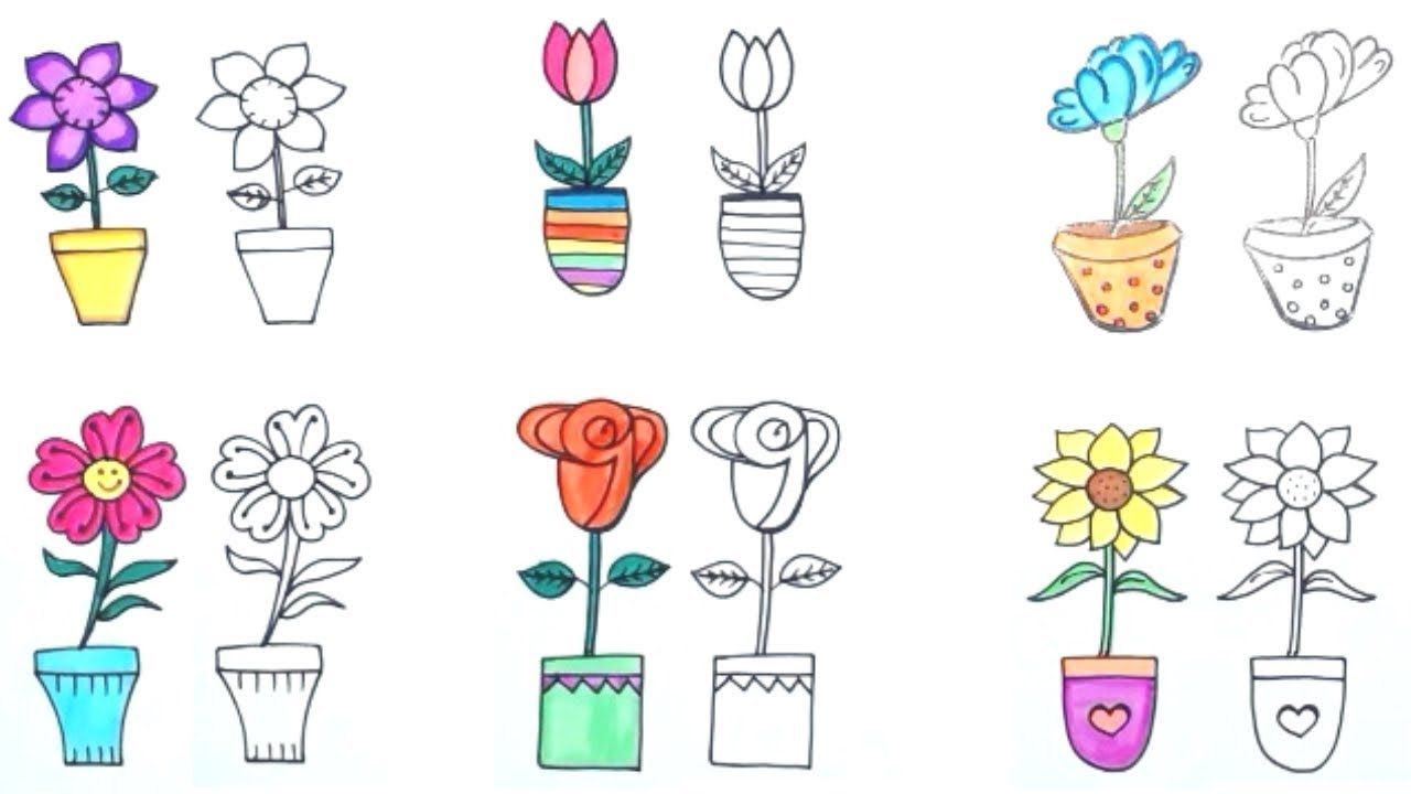 How To Draw Flower Pot Easy Way Six Different Flower Pots Flowers