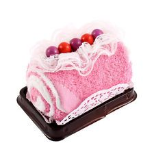 Roll Cake Design Bead Lace Decor Wedding Party Gift Washcloth Hand Towel Pink
