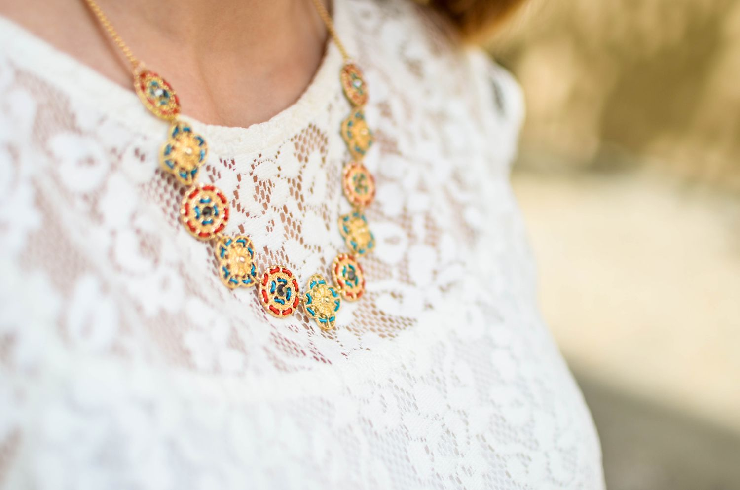 lace blouse, white, lovely necklace