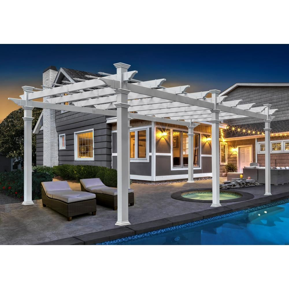 New England Arbors Barcelona 12 Ft X 16 Ft White Vinyl Pergola Va42028 The Home Depot Vinyl Pergola New England Arbors Pergola