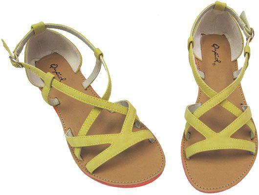 Athena Yellow Strappy Vegan Sandal