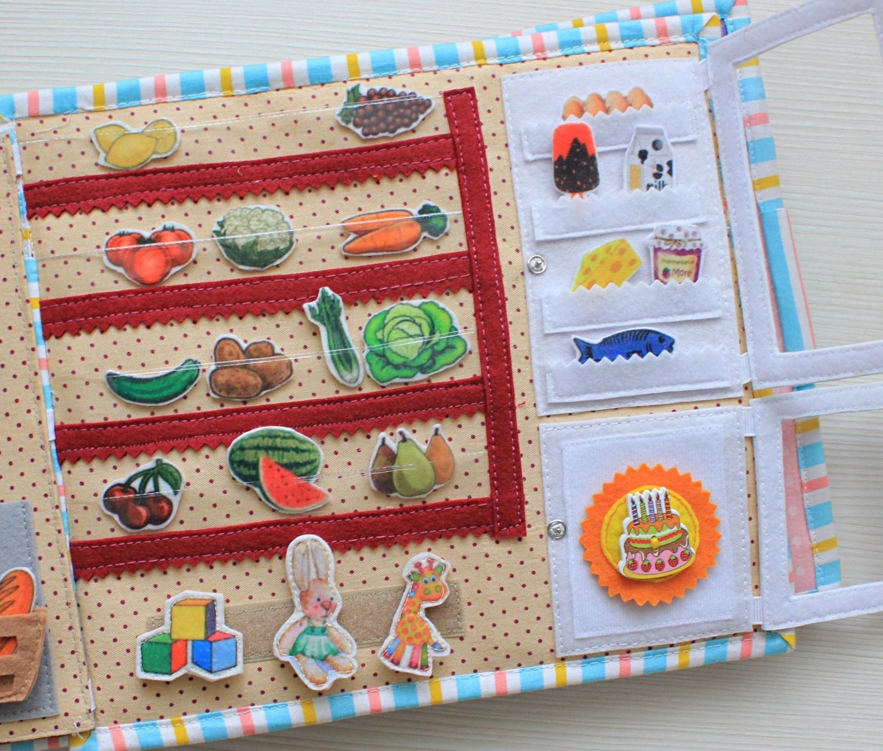 Quiet Book Dollhouse With Market And 2 Felt Dolls And Clothes Girls