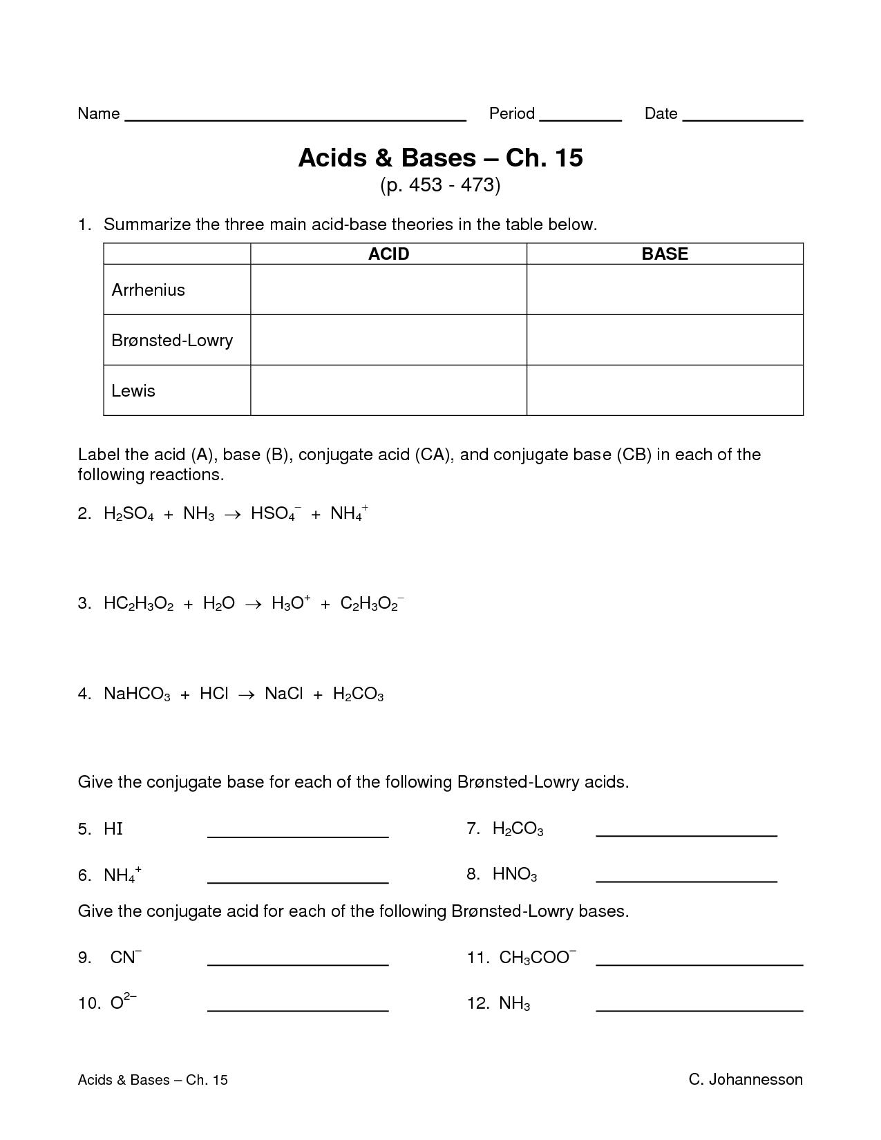 Acid Base Worksheet