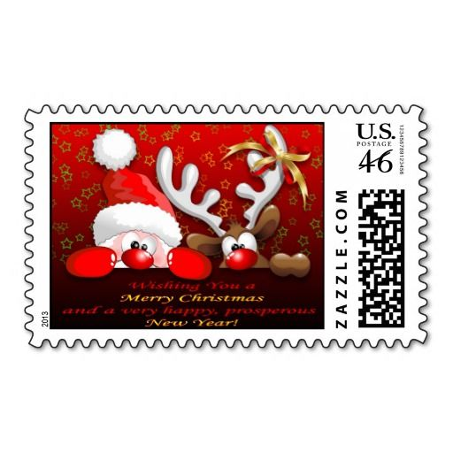 Funny Santa And Reindeer Cartoon Postage Zazzle Com